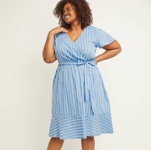 Lane Bryant striped faux wrap dress